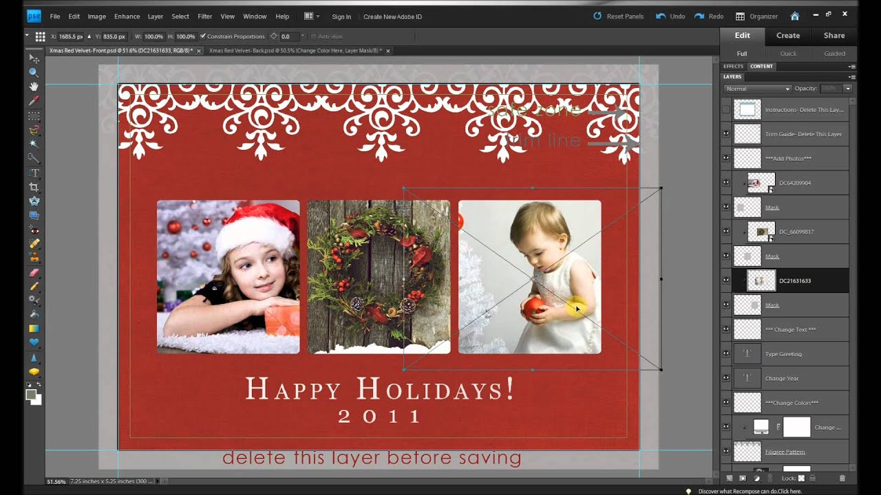 How To Make FREE Holiday Christmas Card Edits In Photoshop And - Free christmas card templates for photographers