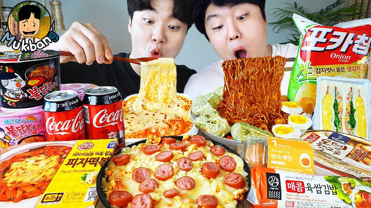 Metin) ASMR MUKBANG baharatlı Ramen & sosisli sandviç & peynirli Pizza & Tteokbokki !! Kore mağazası