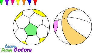 Sport Balls Coloring Pages Learn Colors For Kids