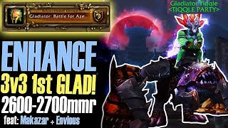 💪 1st Gladiator TRIPLE SHAMAN +2600mmr 3v3 Arena - Enhance Shaman PvP [BFA WoW]