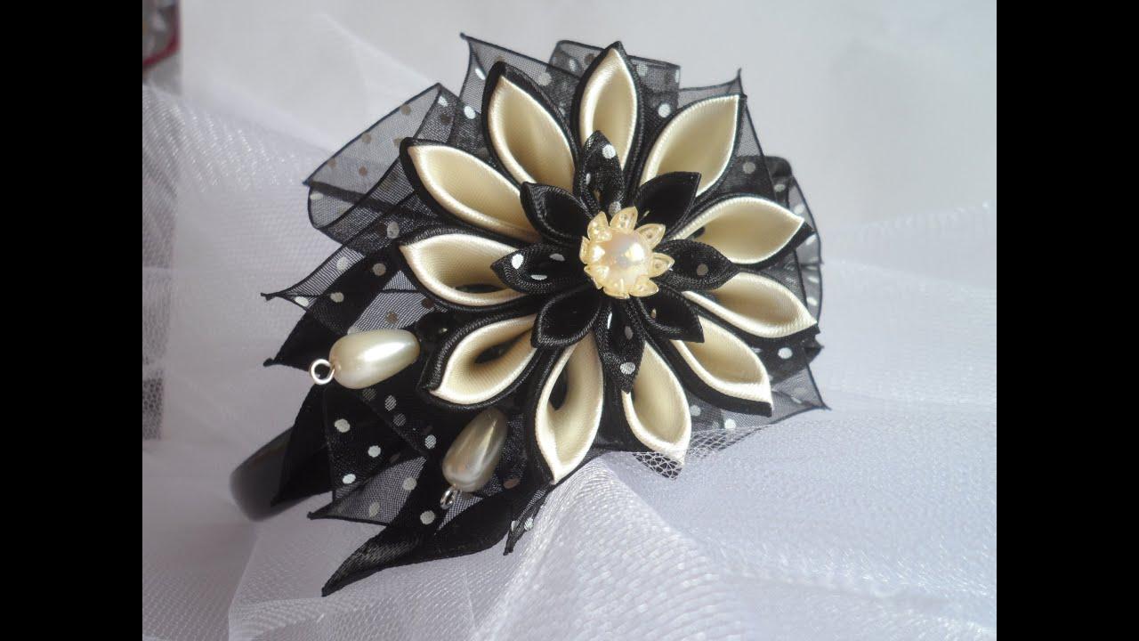 Цветы канзаши.ободки для волос