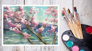 Как нарисовать сакуру на фоне скал гуашью! #Dari_Art(В этом видео предлагаю создать интересную композицию с сакурой и скалистым пейзажем. Для работы нам потреб..., 2015-06-11T06:36:16.000Z)