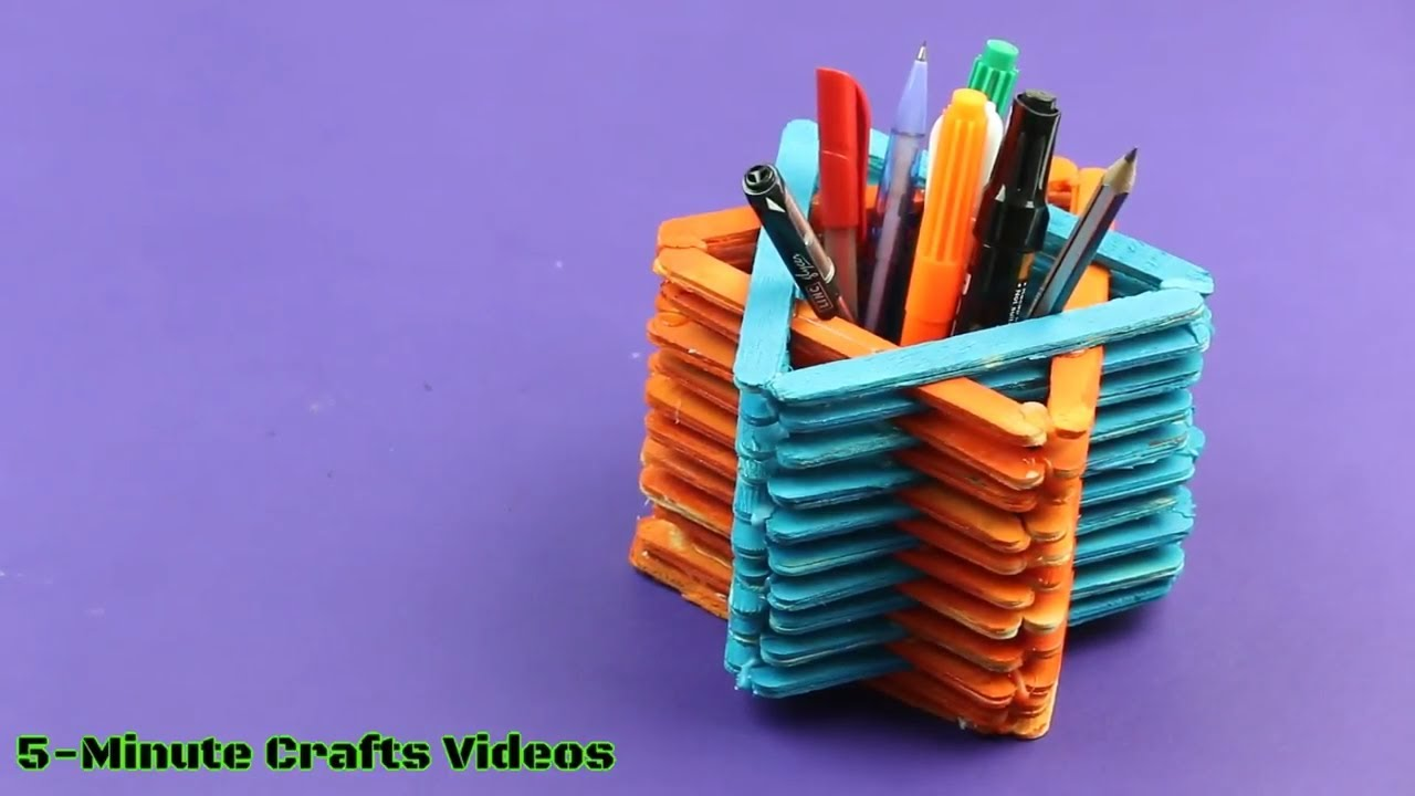 Pen Stand With Icecream Sticks By The Design Of Star Diy Ideas