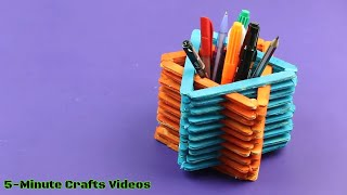 Pen Stand with Icecream Sticks - By the Design of Star - DIY Ideas