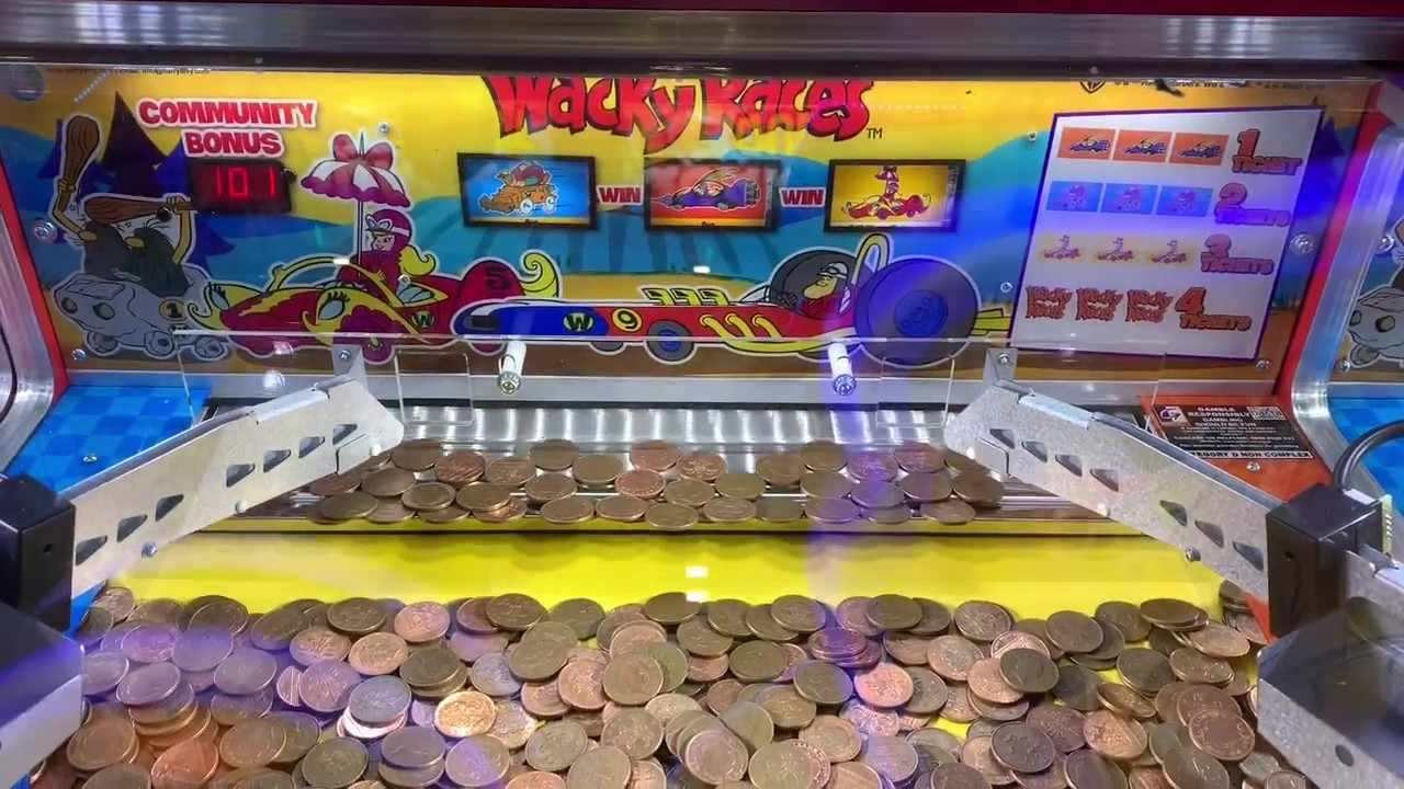 8-Player Wacky Races Coin Slot Pusher Coin Operated Arcade Machine Game