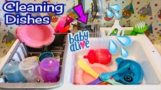 💦Washing Baby Alive dishes 💦 using the Spark Create Imagine KITCHEN SINK and review