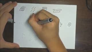 How to draw all Naruto headband symbols