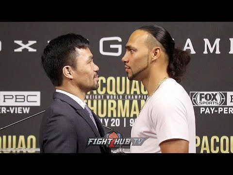 Manny Pacquiao and Keith Thurman's STAREDOWN in New York (VIDEO)