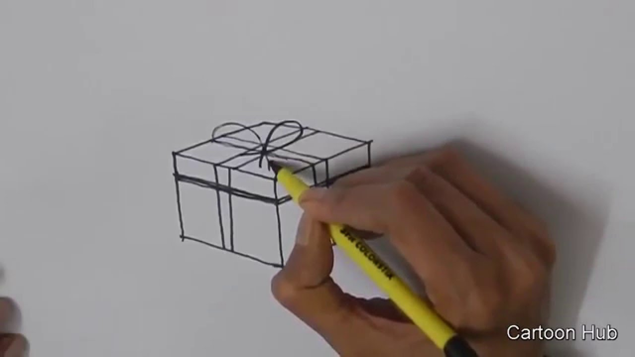 How to draw a christmas present easy