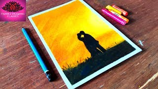 How to draw scenery of sunset with romantic love step by step