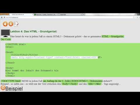 Lektion 4: Ein HTML - Grundgerüst Erstellen