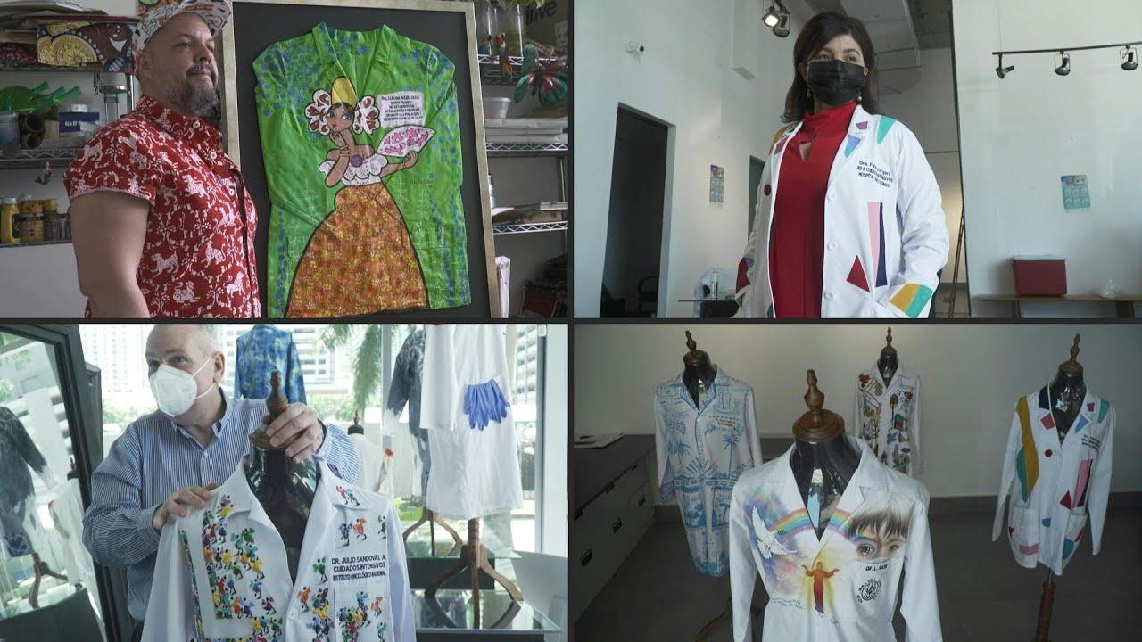 سترات أطباء تُحول إلى تحف فنية في بنما للمساعدة في مواجهة كورونا   AFP