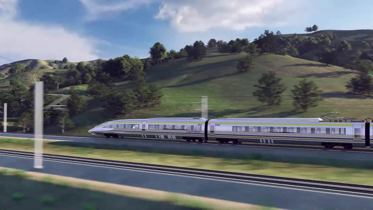 An animated rendering of a high-speed train passing through a section of the Pacheco Pass near Casa de Fruta.