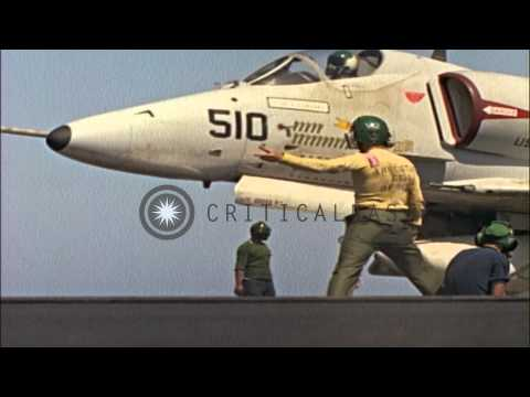 Aircraft Take Off From The USS Coral Sea (CVA-43) Underway In South China Sea Dur...HD Stock Footage