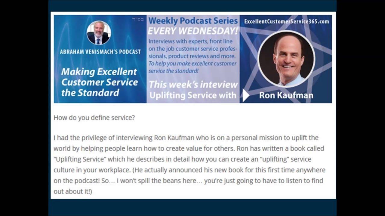 podcast ron kaufman interview abraham venismach podcast ron kaufman interview abraham venismach