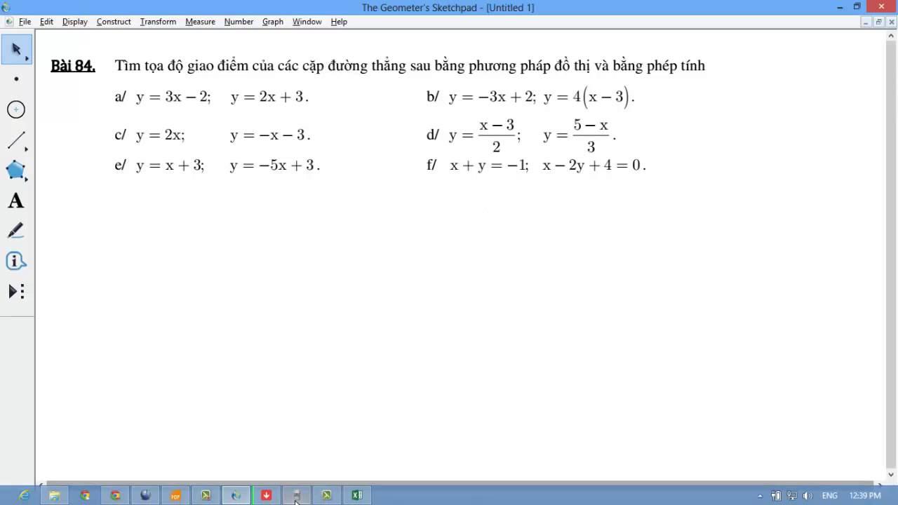 [TOÁN 10] II.B HÀM SỐ BẬC NHẤT- Bài 3 84 Tìm tọa độ giao điểm, nhớ đưa về dạng chuẩn y=ax+b