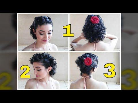 3 Penteados Fáceis Para Cabelos Curtos E Cacheados Em