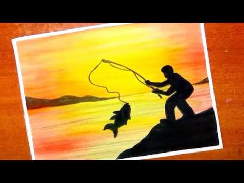 How To Paint Easy And Simple Fisherman Sunset Scenery | Silhouette Painting With Watercolor...