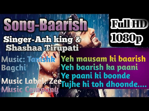 Baarish full Karaoke song with Lyrics | Ash King, Shashaa Tirupati|