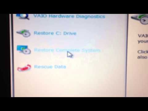 SONY VAiO LAPTOP FACTORY RESTORE RECOVERY  NO DiSKS NEEDED