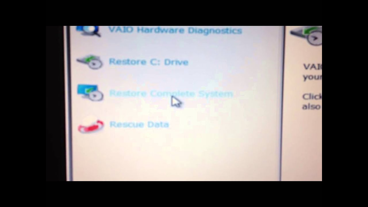 how to factory reset sony vaio laptop windows 7 without cd