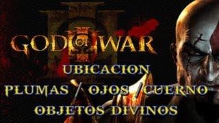 Ubicación Ojos  / Plumas / Cuernos / Objetos Divinos / God Of War 3