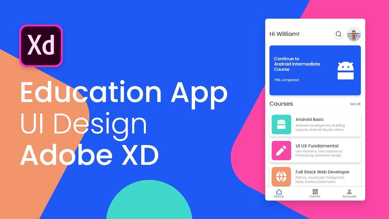 Designing Online Course Education App UI Design - Adobe XD to Android Studio (Part 1)