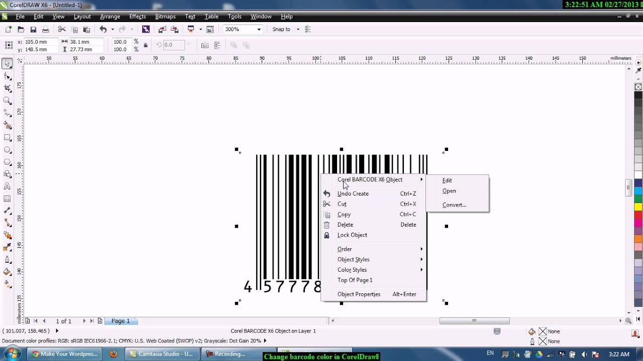 Line color in coreldraw - How To Change Barcode Color In Coreldraw