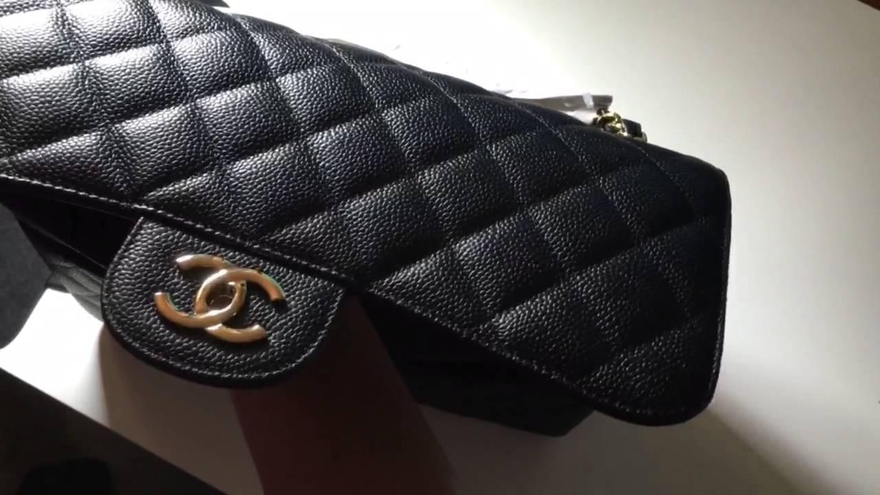 3b4d3e5a288aa6 Chanel jumbo classic flap bag in Black caviar and gold hardware - YouTube