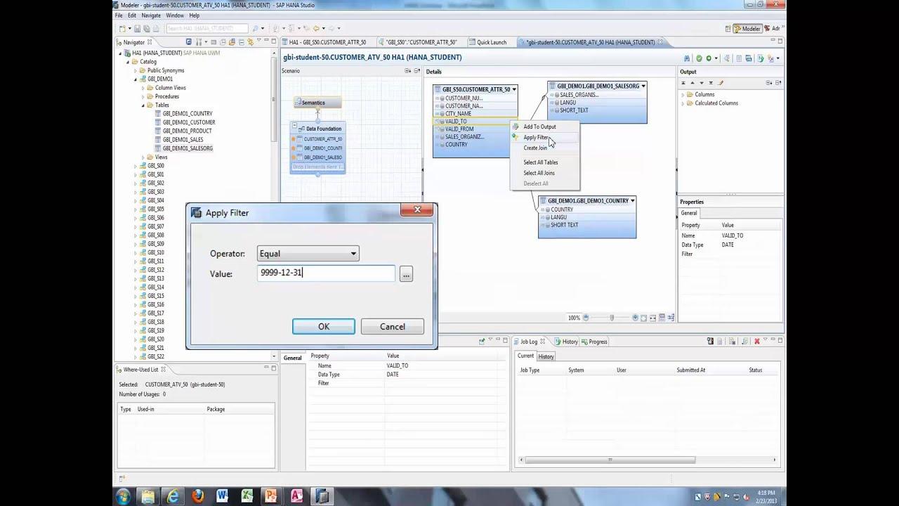 HANA Training: tables, views, BOBJ DataServices, BO Explorer ...