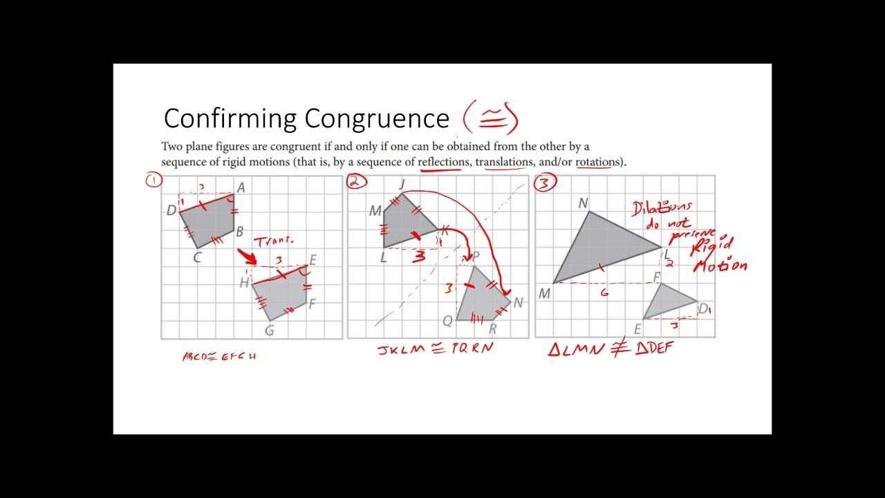 Geometry 3 2 Proving Figures Are Congruent Using Rigid Motion