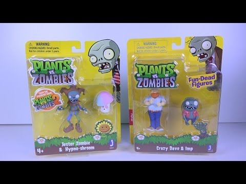 Plants Vs. Zombies: Crazy Dave & Imp / Jester Zombie & Hypno-shroom - Unboxing