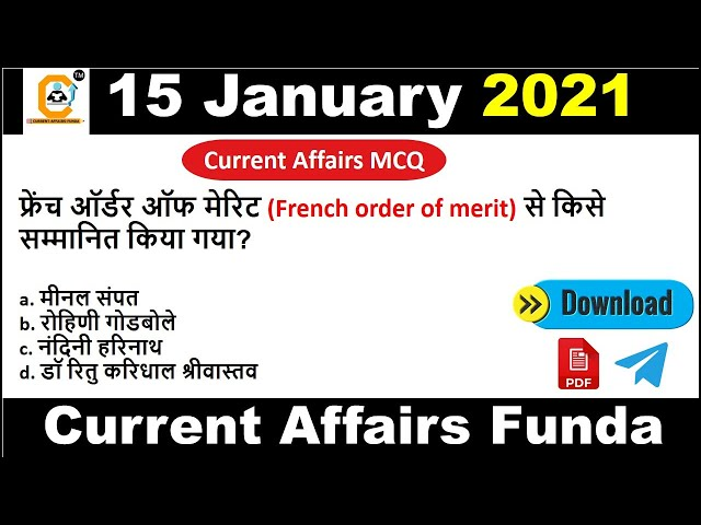 15 January Current Affairs MCQ 2021    15 January Daily Current Affairs   Current Affairs Today