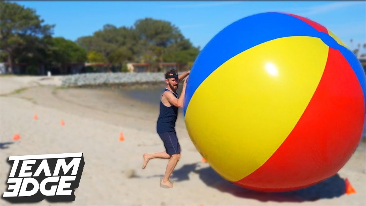 GIANT BEACH BALL RACING CHALLENGE!! | Edge Games [Day 3 ...