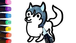 Cute Husky Drawing Coloring Pages For Kids - Learn Colors / World of Eggs
