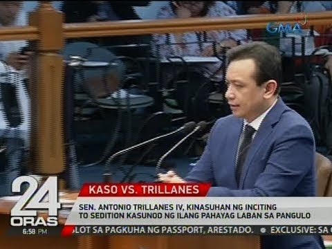 Sen. Trillanes IV, kinasuhan ng inciting to sedition kasunod ng ilang pahayag laban sa pangulo