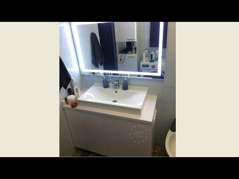 Тумба под умывальник без ручек, в ванную комнату, зеркало с подсветкой. Фурнитура Blum (Австрия).