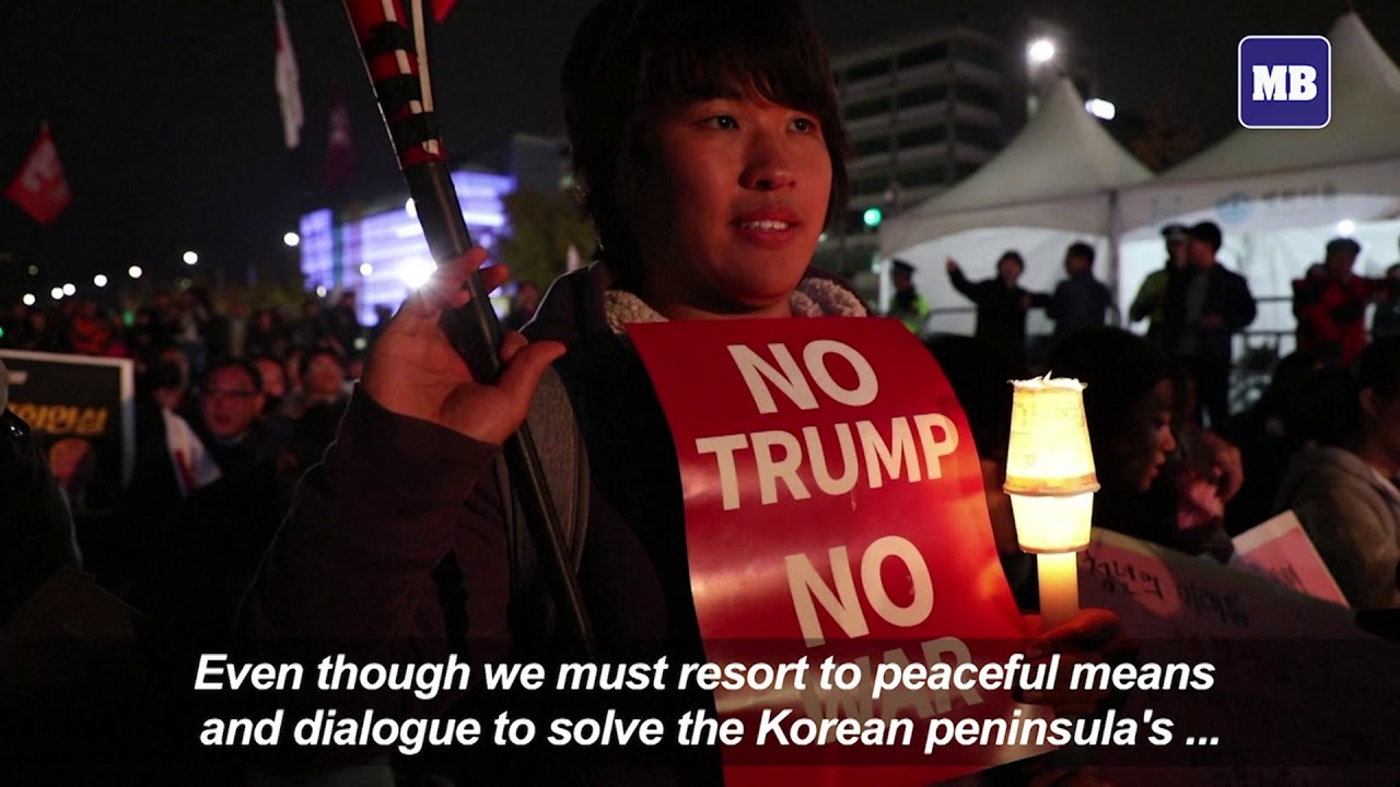South Korean pro and anti Trump protesters rally in Seoul