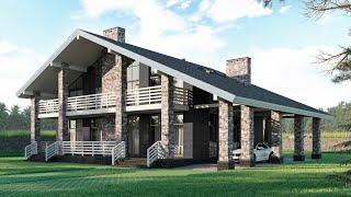Проект дома в стиле шале из камня. Дом с сауной, гаражом, террасой и балконом. Ремстройсервис М-373