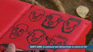Ce jeune artiste guadeloupéen décore un banc  en mémoire des victimes de l'esclavage...