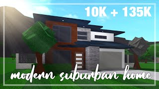 Roblox // Bloxburg - Modern Suburban House Tutorial Complete Step By Step with House Tour [145K]