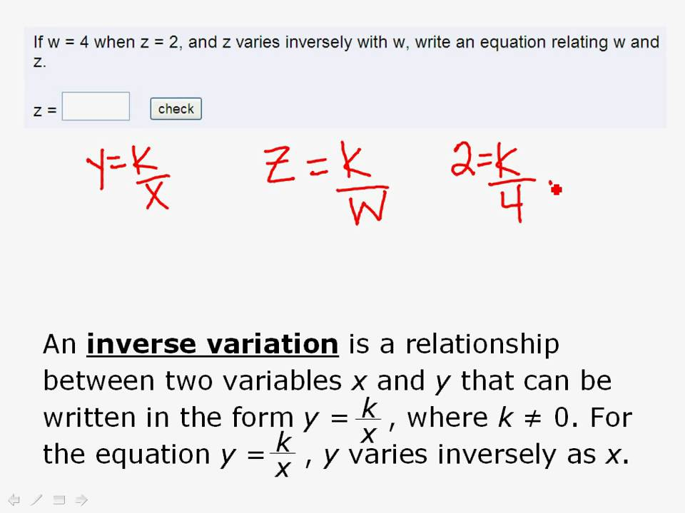 Inverse Variation Formula Write an Equation for ...