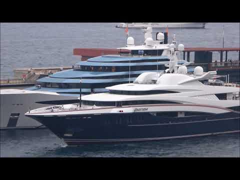 Oceanco's Anastasia is shown here leaving Port Hercules in Monaco