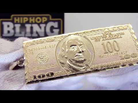 $100 Bill Larger Pendant USD Benjamin 10K Yellow Gold