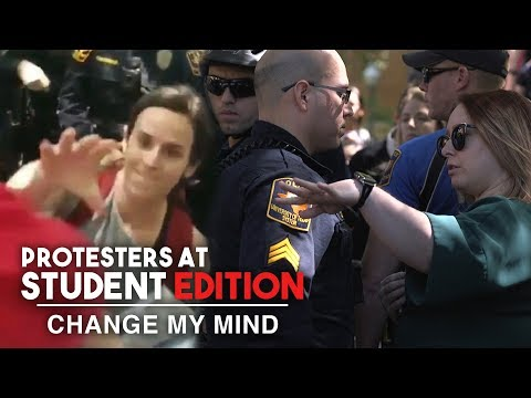 Crazy MAGA-Hat Stealing Protester Shut Down by Cops! | Change My Mind