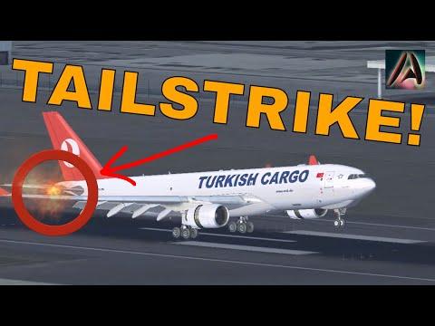 A330 Turkish Airline Cargo EMERGENCY LANDING at Heathrow - TAILSTRIKE - FSX