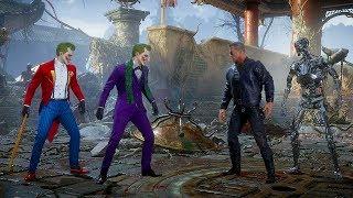 Mortal Kombat 11 Joker Vs Terminator & Endoskeleton Terminator Gameplay MK11