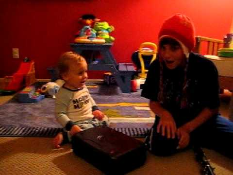 Sammy and Noa play with clarinet case (Oct 2011)
