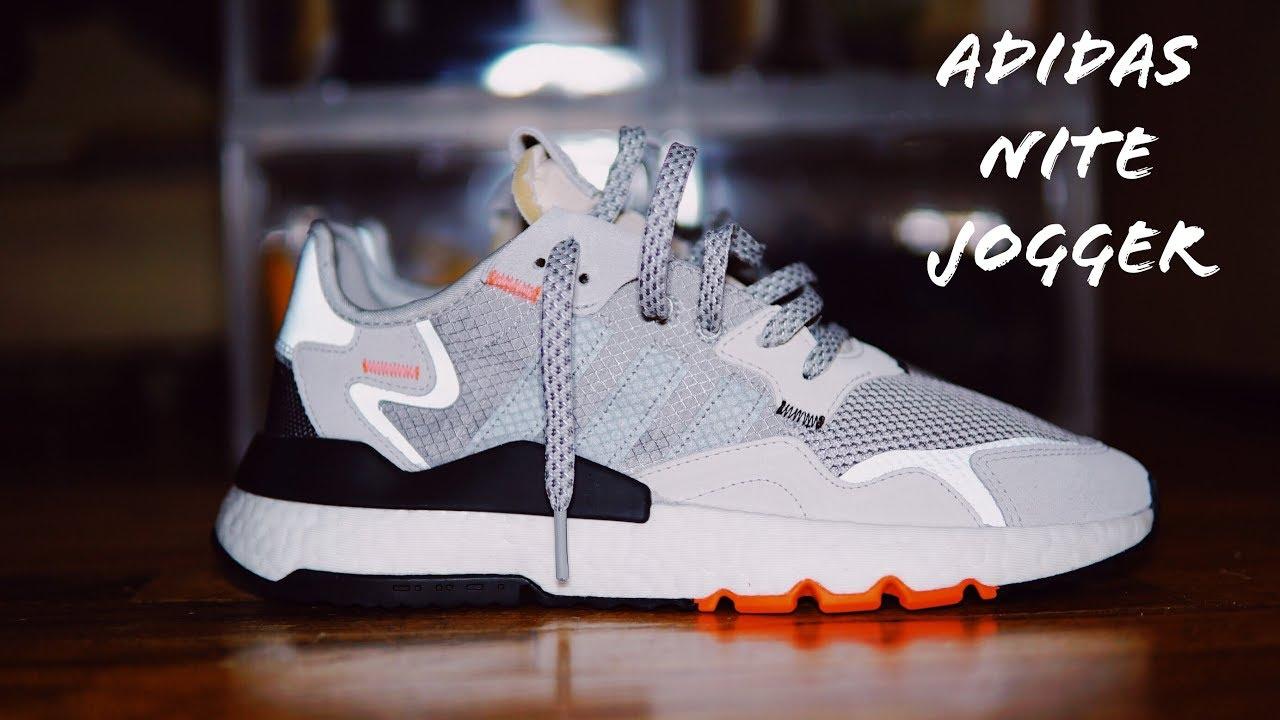 Adidas Nite Jogger WhiteSolar OrangeMulti Grey Unboxing On Foot Review