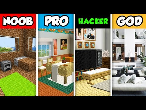 Minecraft NOOB Vs. PRO Vs. HACKER Vs GOD : MODERN APARTMENT INTERIOR BUILD CHALLENGE In Minecraft!